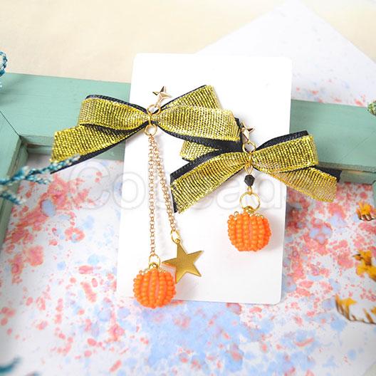 Cobeads Inspiration on Bow Pumpkin Earrings